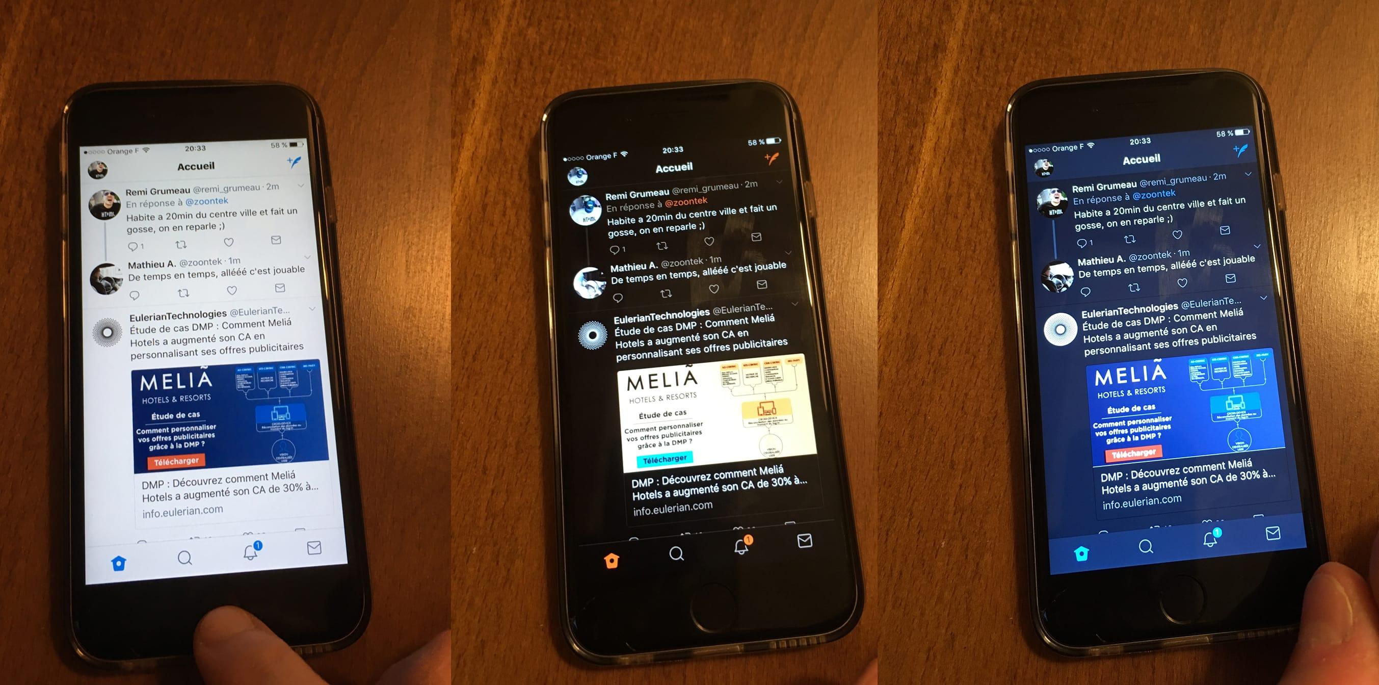 Apple iOS Twitter en mode inversé