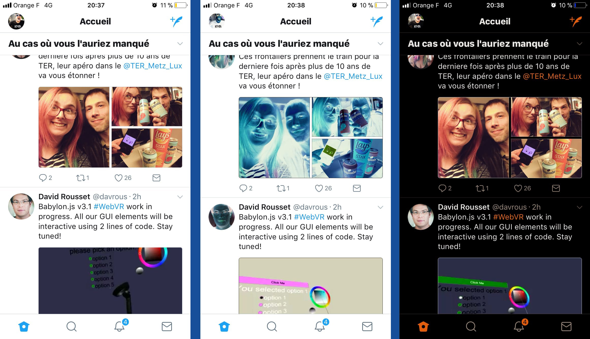 Apple iOS Twitter en mode inversé