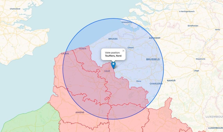 Carte des 100km autour de Toufflers, Hauts-de-France
